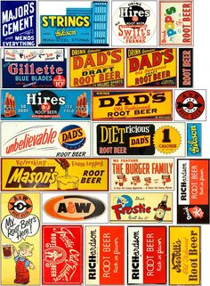 Old signs for your layout Vintage Menu, Vintage Labels, Vintage Ads, Vintage Posters, Ho Scale Train Layout, Model Train Layouts, Matchbox Crafts, Garage Art, Historical Artifacts