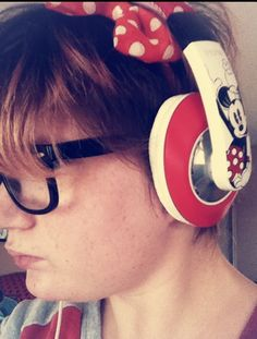 This is a pic of me wearing my new Minnie Mouse headphones :D I'm sooo excited I got them and they work nicely just like Minnie Mouse :D hope you guys enjoy ! :D