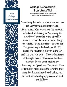 College Scholarship Searching Tip!