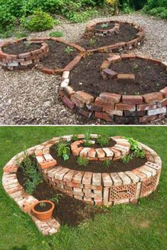 23 beautiful and ingenious brick projects for your home garden ideas diy, very small garden Unique Garden, Diy Garden, Spiral Garden, Garden Beds, Herb Spiral, Sacred Garden, Garden Arbor, Herb Garden, Garden Paths