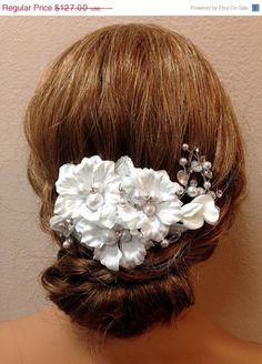 Bridal headpiece white bridal hair jewelry pearl by GlamDuchess