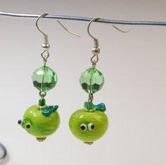 Glass Lampwork bead earrings.... Green apple by BdazzledJewellery