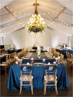 Royal blue and gold wedding tablescape