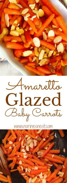 Sweet Baby Carrots are coated in a rich buttery brown sugar amaretto glaze and topped with toasted slivered almonds. The perfect Holiday Side Dish