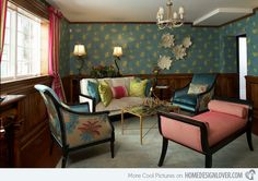 Image: Fringe Home Design  This tea room is sure pretty in those colorful fabrics used in the seats, the walls, even the curtains! Mixing things up like this seems a task, but thanks to smart designers, they all look together!