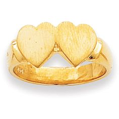 14k Yellow Gold Double Heart Signet Ring ($196) ❤ liked on Polyvore featuring jewelry, rings, gold, gold ring, yellow gold heart ring, gold heart shaped ring, engraved rings and heart shaped rings