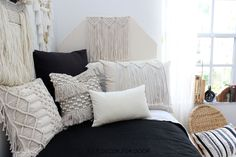 Dorm season is finally here. We are so excited to launch these gorg dorm bedding designs we have been working on for months. This season we're seeing tons of pattern (think palm), texture, macrame, and unexpected fabrics. Of course, neutrals are always a good idea. Dorm Room Headboards, Dorm Bedding Sets, Girl Bedding, Dorm Bed Skirts, Dorm Room Designs, Cute Dorm Rooms, Bed Design, Room Inspiration, Macrame