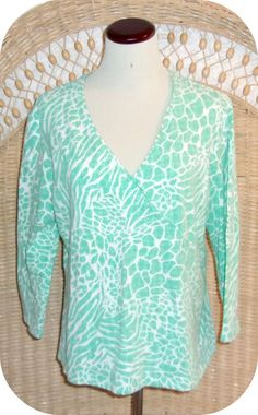 RUBY RD Womens Top Size XL Green White Blue Leopard Print 3/4 Sleeve Cotton  #RubyRd #KnitTop #CareerCasual