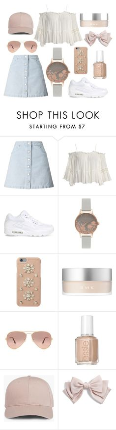 """""""Something different"""" by lexi-loves-fashion ❤ liked on Polyvore featuring Miss Selfridge, Sans Souci, NIKE, Olivia Burton, MICHAEL Michael Kors, RMK, Ray-Ban, Essie and Cara"""