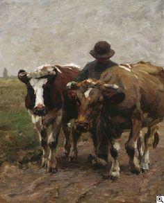 Julius Paul Junghanns: Bauer mit Ochsengespann aus unserer Rubrik: Gemälde des 19. Jahrhunderts