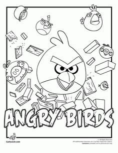 Angry bird colouring pages