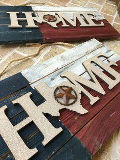 Home Texas Flag handmade distressed wood Home sign at DeborahLynnJewelry.com