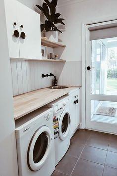 Laundry Decor, Laundry Room Design, Laundry In Bathroom, Laundry Room Small, Laundry In Kitchen, Ikea Laundry, Laundry Cupboard, Laundry Room Storage, Laundry Room Shelves