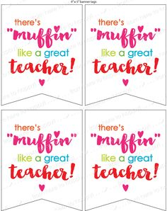 """Teacher/co-worker gifts, teacher appreciation, thank you note, gift tag--there's """"Muffin"""" like a great teacher! by PartyTimeDesign on Etsy"""