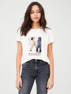 Attitude Slogan T-Shirt - Cream Perrie Edwards Style, High Leg Boots, Long Toes, Slogan, Attitude, Kids Fashion, T Shirt, Shopping, Tops