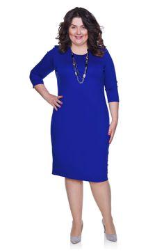 dc81cdaf6e Klasyczna kobaltowa sukienka wyszczuplająca - Modne Duże Rozmiary