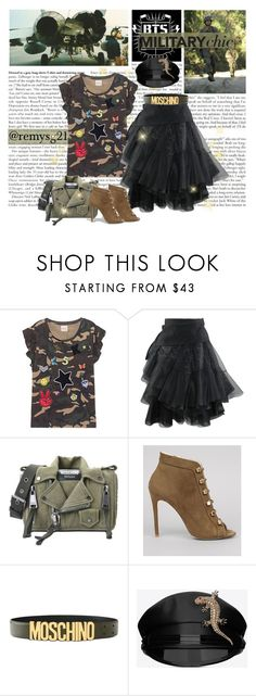 """Military Chic"" by remysg21 ❤ liked on Polyvore featuring Kengstar, Moschino, New Look, Yves Saint Laurent, camo, BlackSkirt, tulleskirt and militarychic"