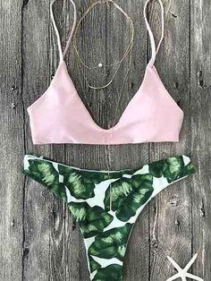 Pink Up Leaf Print Halter #Bikini #Set