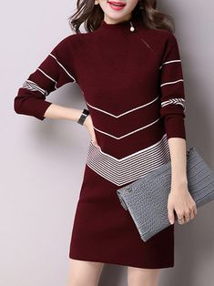 Stand Collar Casual H-line Knitted Midi Dress