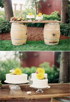 cake table created from an old door and wine barrels #farmwedding #oregonwedding #weddingchicks http://www.weddingchicks.com/2014/01/13/summertime-country-wedding/