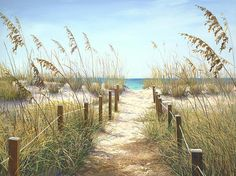 Beach Painting - Sea Oat Path by Laurie Hein Sea-Oats (and -Grapes) grow wild above the shoreline on the Atlantic coast of Florida. Beach Canvas Wall Art, Beach Art, Canvas Art, Canvas Prints, Art Prints, Photomontage, Landscape Art, Landscape Paintings, Beach Scene Painting
