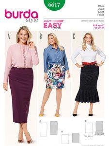 burda style: Damen - Röcke - Schmaler Jerseyrock - verschlusslos