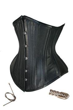 Black Steel Boned Underbust Leather Corset,7374-$21.95-Steel Boned Corsets | IWantLingerie.com