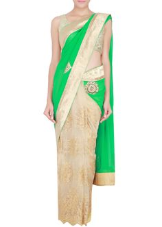 Green and gold half saree in georgette and net embellished with kundan and pearl only on Kalki - Kalkifashion.com
