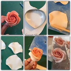 Rose pictorial part two. - now cut 5 medium petals using a rose petal cutter. Thin edges again. Then curl the side in slightly using a dowel. - glue in the same way. - for a larger rose.. Add 5 more petals in the next size up.  I mix in a little white to my paste after each layer of petals, to get that's ombré effect.  Hope all makes sense. Sorry I'm not the best of teachers  Will do a peony next hopefully ☺️