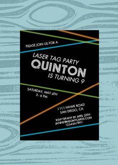 Laser Tag Birthday Party Invites  Laser Lazer Boys by prettypress, $19.50