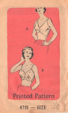 1960s Anne Adams 4715 Misses Corset Style STOUT BRA Pattern Unique Shaped Back womens vintage sewing pattern by mbchills