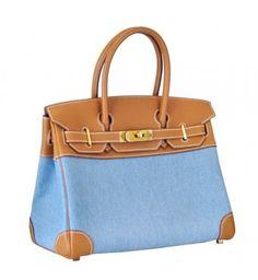 Hermes-Birkin-30CM-Blue-Gold-Cotton-canvas-with-Veau-Crispe-Togo-Leather-Gold-hardware