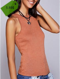 Casual Solid Color Round Neck Tank Top For Women