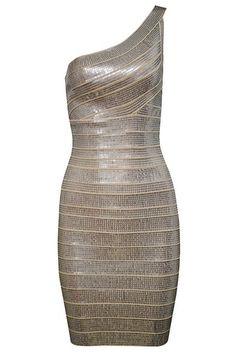 AMBERLEY GOLD METALLIC SEQUIN BEADED ONE SHOULDER ASYMMETRIC BODYCON BANDAGE DRESS