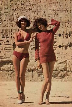 1970s crochet bikini and tunic