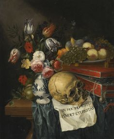 Flemish School, 17th century, Vanitas still life with a vase of flowers, plate of fruit, skull, and box of jewels on draped wooden table