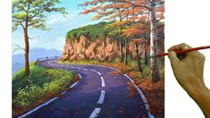 Empty Road, Acrylic Painting Lessons, Learn To Paint, Landscape Paintings, Illustration Art, Country Roads, Tutorial, Youtube, Videos