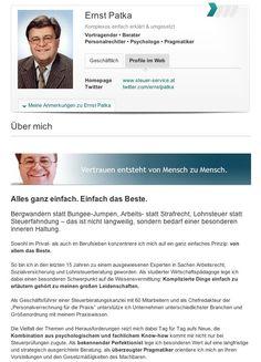 Ernst Patka Steuerberater und Speaker - #XING Profil - Strategie, Konzept und Texte
