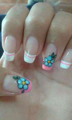 Uñas Flower Nail Designs, Flower Nail Art, Cute Nail Designs, Cute Nail Art, Easy Nail Art, Toe Polish, Finger, Fancy Schmancy, Crazy Nails