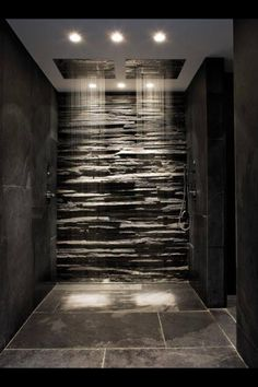 Rainfall shower, no glass and love the exposed brick