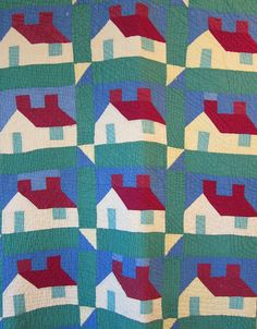 Antique quilt SCHOOLHOUSE hand quilted American, eBay, primitive-modern