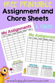 Free Printable Assignment and Chore Sheets for Homeschool--encourages independence and a great visual for kids to know when they are done for the day