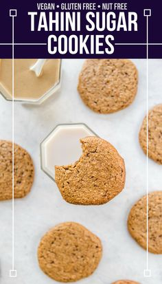 Vegan, Gluten Free, and Oil-Free, these Tahini Sugar Cookies are a healthy dessert -- but hardly taste like it! With crispy edges and soft and chewy centers, they're perfect on their own or with a glass of non-dairy milk. #vegan #plantbased #nutfree #dessert #healthydessert #healthycookies #glutenfree #tahini #sugarcookies via frommybowl.com