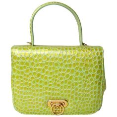 Preowned 1980's Escada Lime Green Reptile Embossed Leather Hand Bag... ($550) ❤ liked on Polyvore featuring bags, handbags, shoulder bags, green, structured shoulder bags, envelope clutch bags, lime green handbags, leather purses, shoulder strap bags and leather man bags