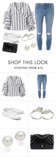 """""""Untitled"""" by gustavia5347 ❤ liked on Polyvore featuring Caroline Constas, Dorothy Perkins, Lacoste, Apples & Figs, AK Anne Klein and Chanel"""