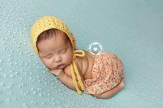 Crochet Yellow Newborn Bonnet and Fabric Skirt by WillowsGarden, $45.00