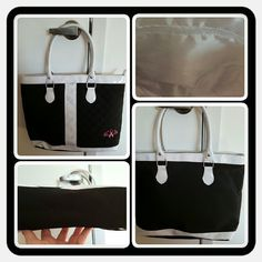 👜 Woman's Tote 👜 ❌FINAL❌ Woman's Breast Cancer Awareness Tote In Black & White With Pink Ribbon On Corner. I'd Say This Is A Medium Sized Bag In Good Condition There's Some Flaws To The White Patent Leather Parts Other Then That It's In Great Condition 🚫 TRADES 🚫 PAYPAL 🚫 OFFERS FINAL MARKDOWN  👜 Breast Cancer Site  Bags Totes