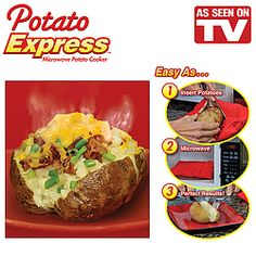 Creates a steam pocket to cook perfect potatoes in the microwave in just 4 minutes!