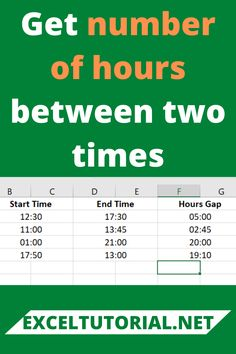 Get number of hours between two times. #Excel #microsoftexcel #Exceltutorial #Exceltutorials #Exceltutor #tutorialexcel #microsofttrainingexcel #microsoftexceltips #Excelformulas #Excelvba #Exceltips #Exceltipsandtricks #Excelvideo #Excelshorcuts Excel Formulas, Computer Shortcut Keys, Excel Hacks, Software Apps, Microsoft Excel, English Vocabulary, Learn English, Ms