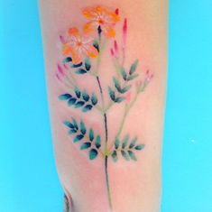 Watercolor Flower Tattoo by Briana Sargent